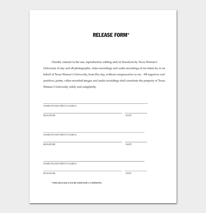 Photo Release Form #03