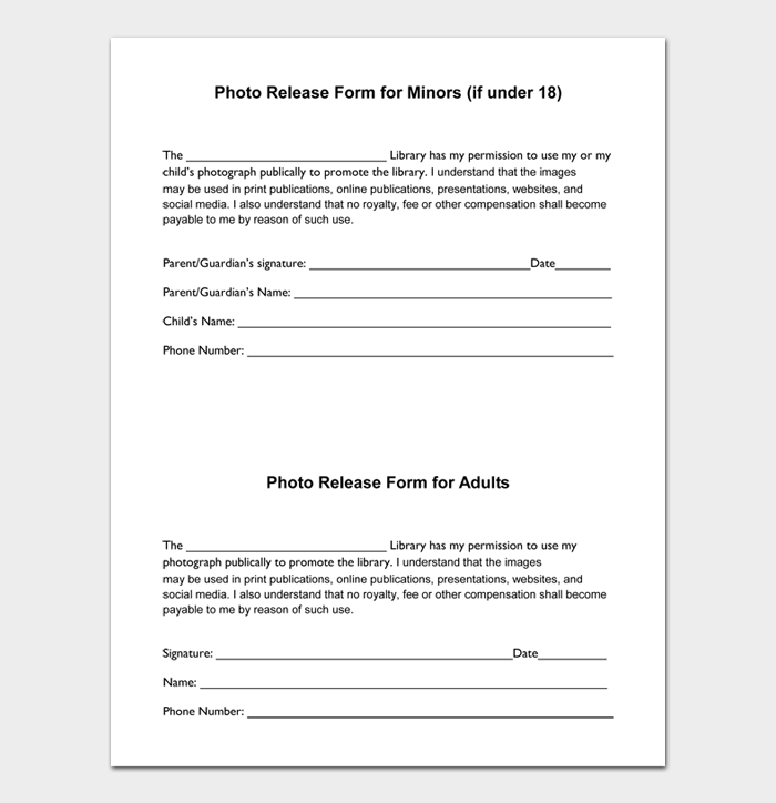 Photo Release Form for Minors