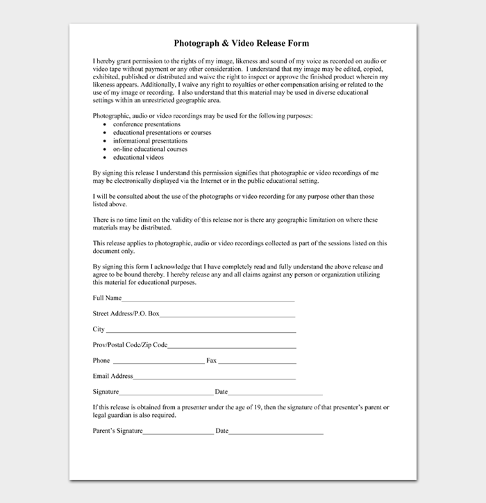 Photograph & Video Release Form