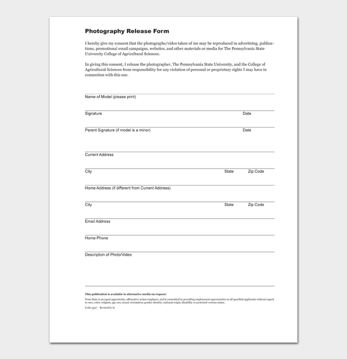 Photography Release Form
