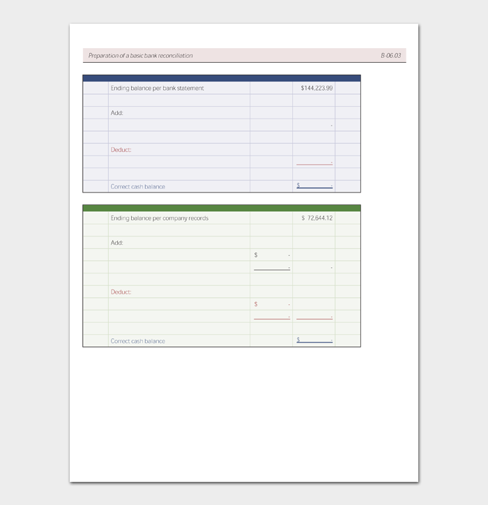 Preparation of a basic bank reconciliation