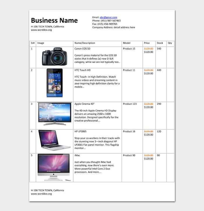 Price List Template #03