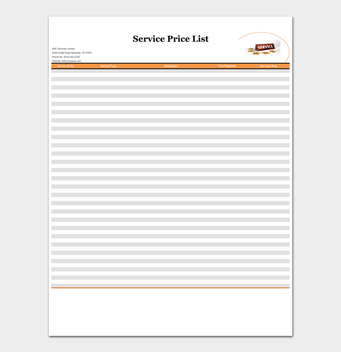 Price List Template #09
