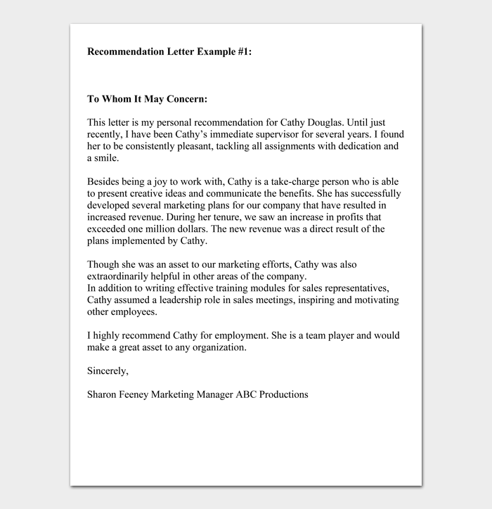 Recommendation Letter Example #1