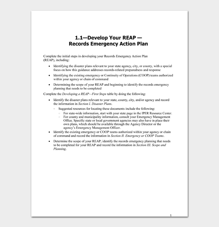 Records Emergency Action Plan