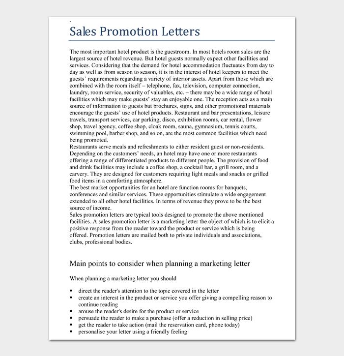 Sales Promotion Letters