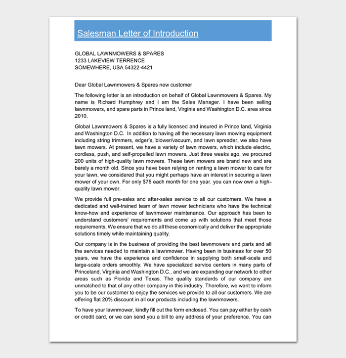 Salesman Letter of Introduction
