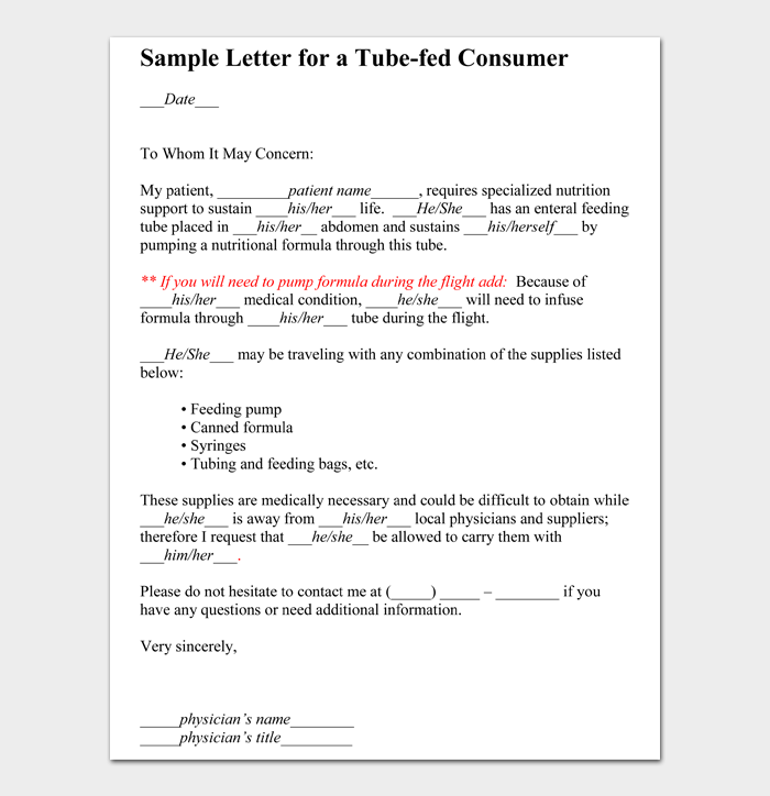 Sample Letter for a Tubefed Consumer