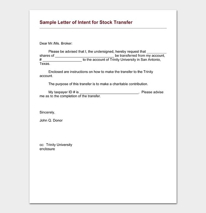 Sample Letter of Intent for Stock Transfer