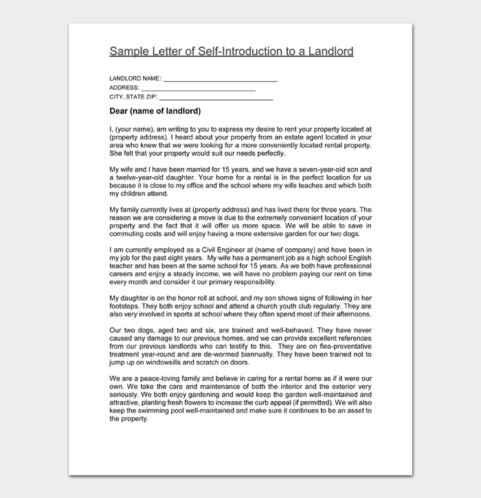 Sample Letter of Self Introduction to a Landlord