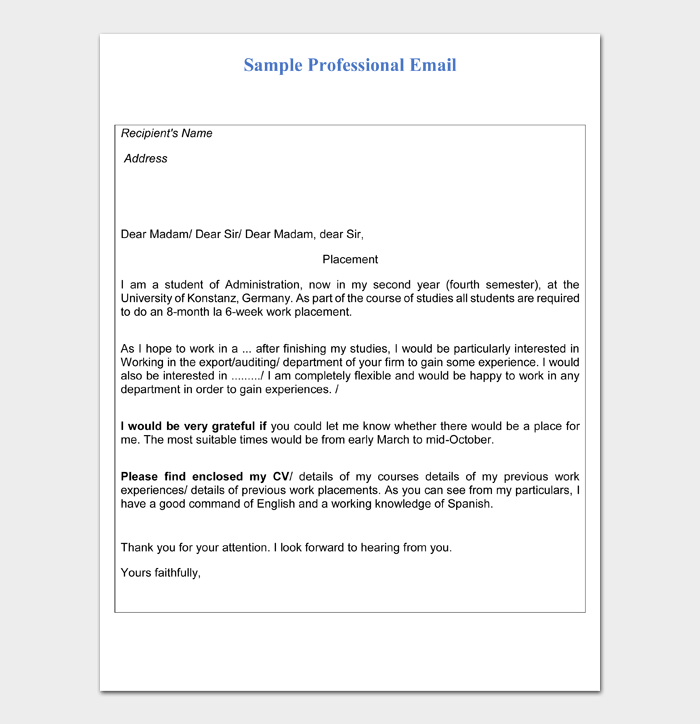Sample Professional Email