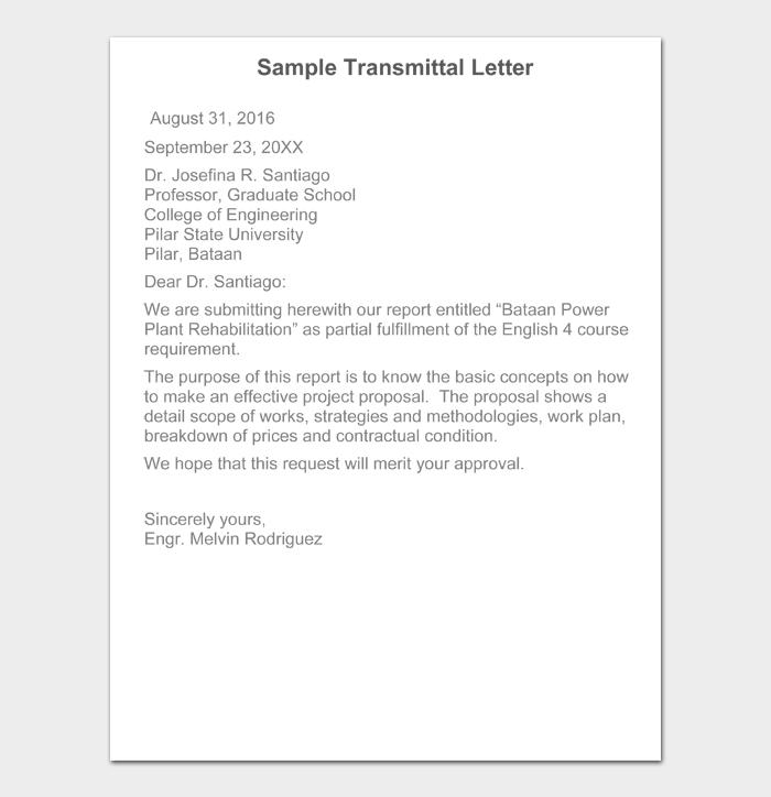 Sample Transmittal Letter