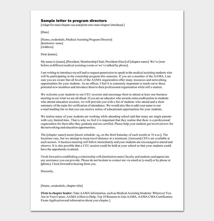 Sample letter to program directors
