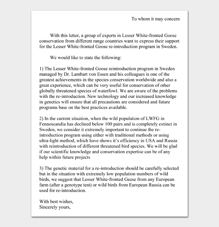 To Whom it May Concern Letter #03