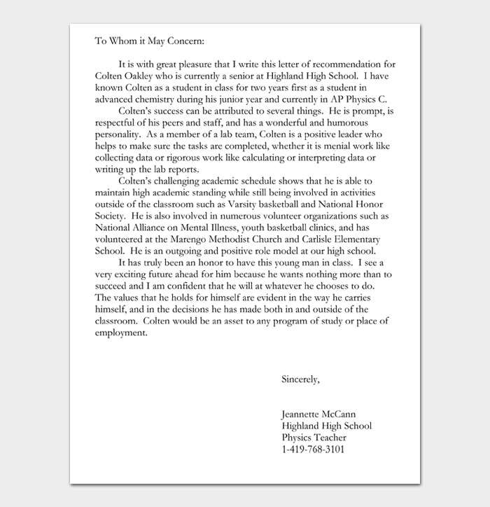 To Whom it May Concern Letter #12