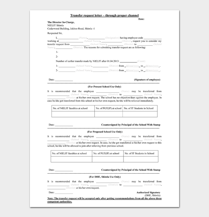 Transfer request letter through proper channel