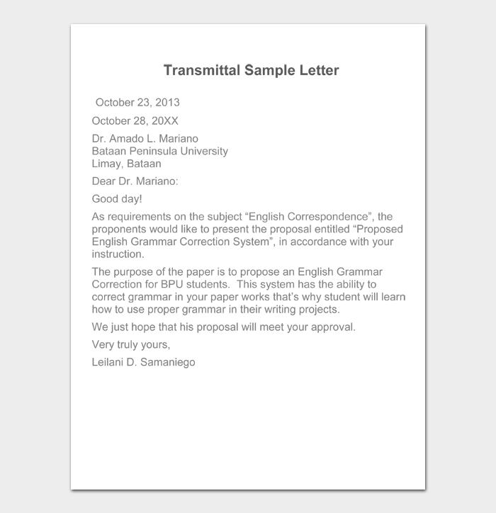 Transmittal Sample Letter