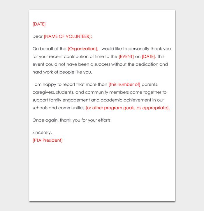 Volunteer thank you letter #09