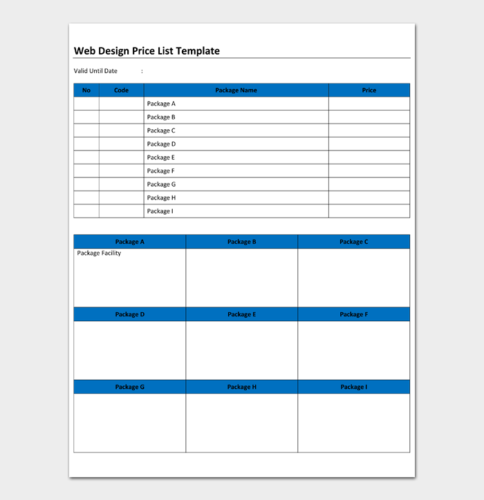 Web Design Price List Template