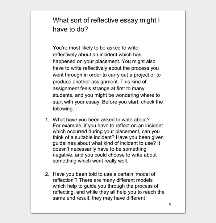 What sort of reflective essay might I