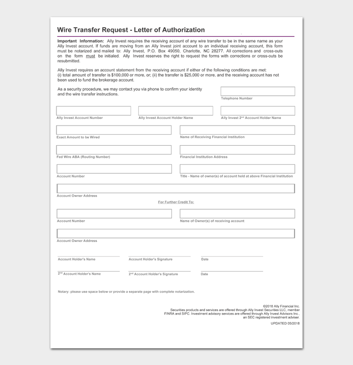 Wire Transfer Request Letter of Authorization
