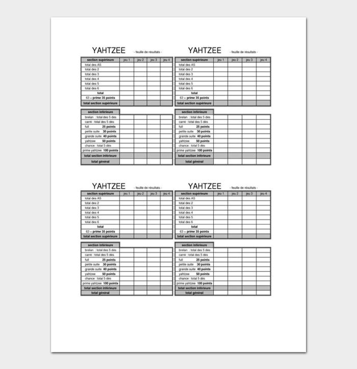 Yahtzee Score Sheets #04