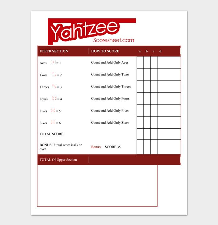 Yahtzee Score Sheets #05