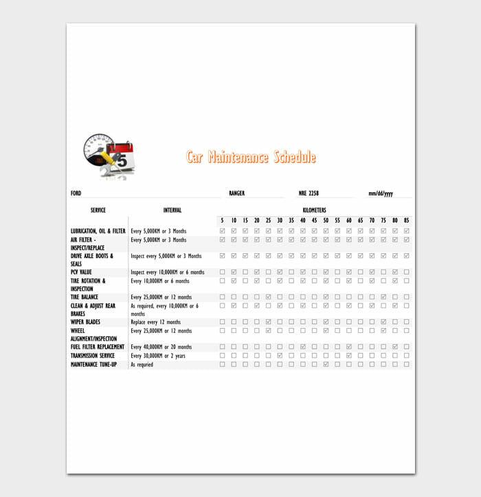 01 Car Maintenance Schedule Template