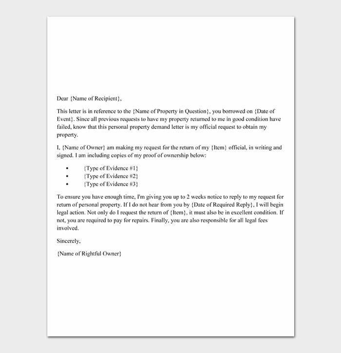 01 Personal Property Demand Letter