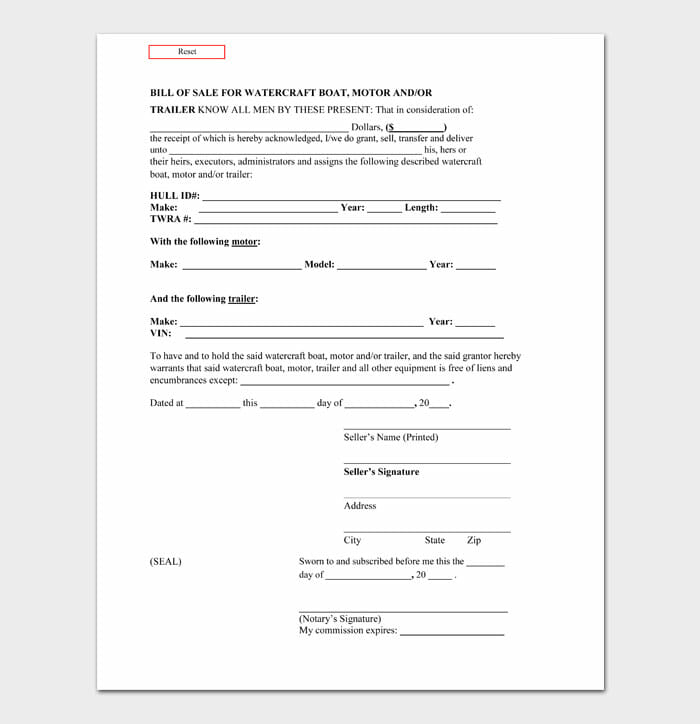 02 bill of sale for trailer