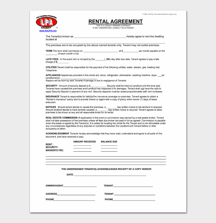 03 simple one page rental agreement