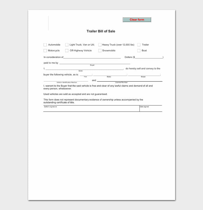 04 bill of sale for trailer