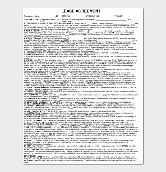 04 simple one page rental agreement