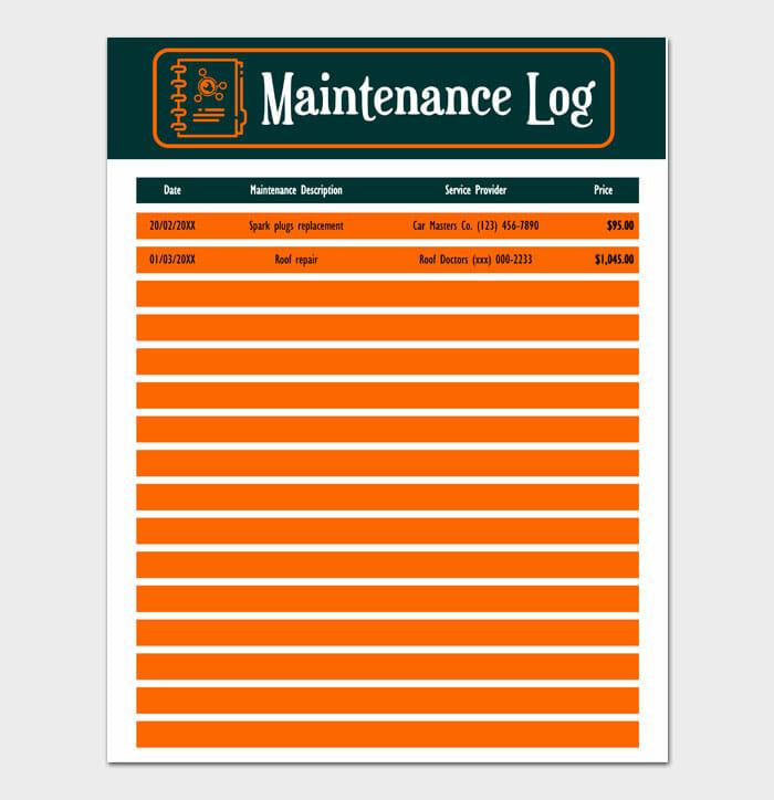 05 Maintenance Log Sample