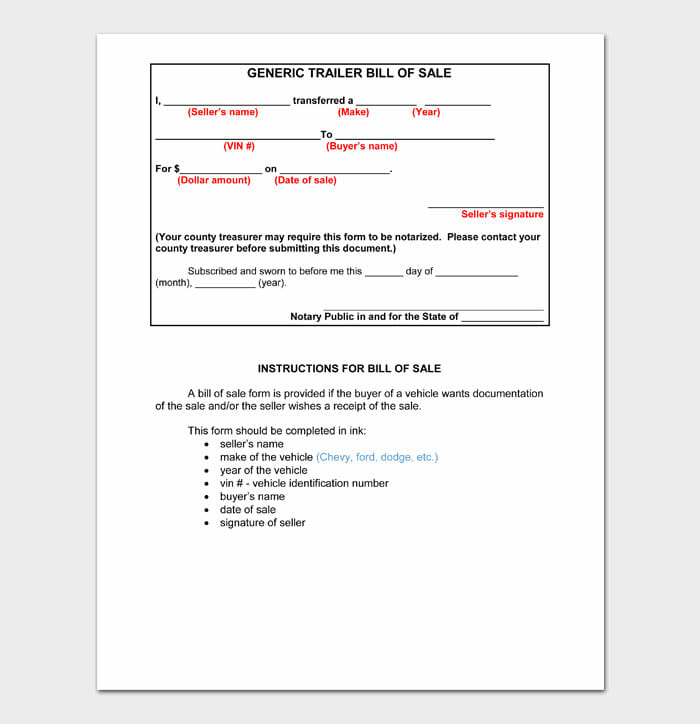 06 bill of sale for trailer
