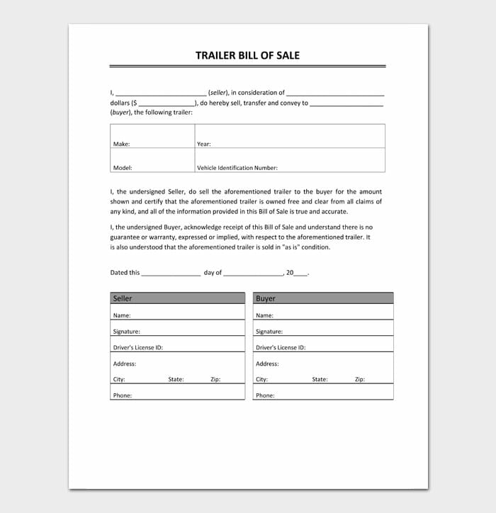 08 bill of sale for trailer