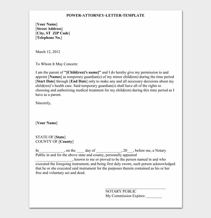 08 power of attorney letter