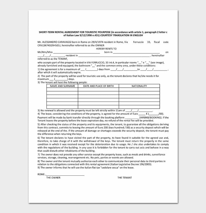 08 simple one page rental agreement