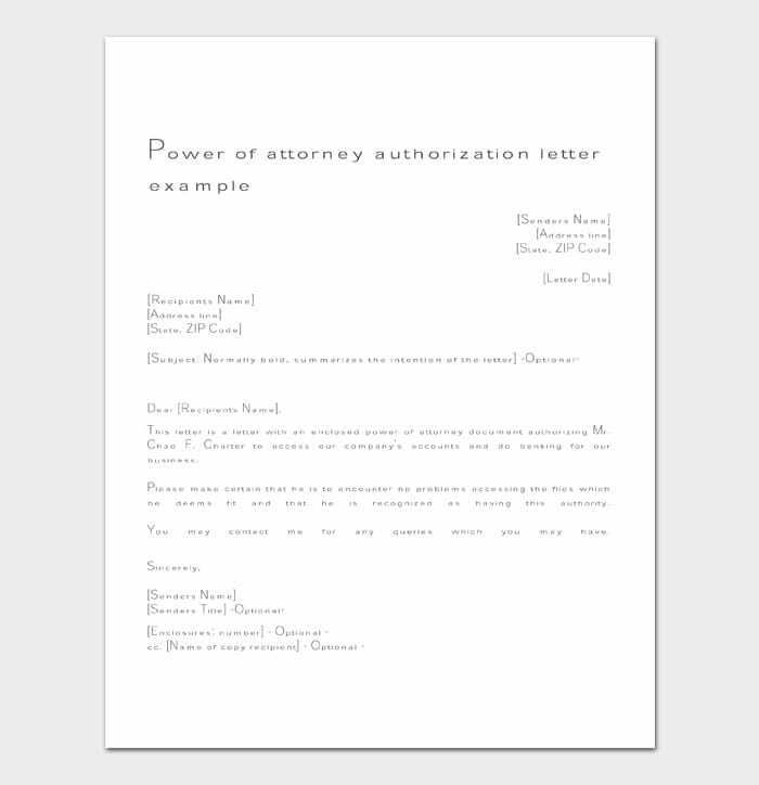 10 power of attorney letter