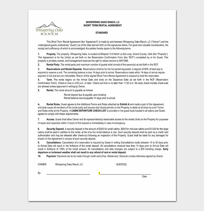 10 simple one page rental agreement