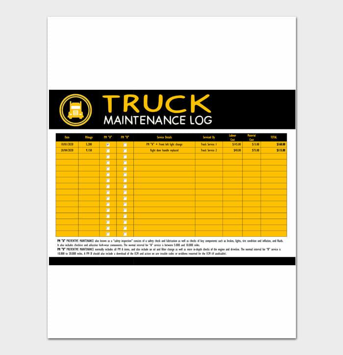 11 Maintenance Log Sample