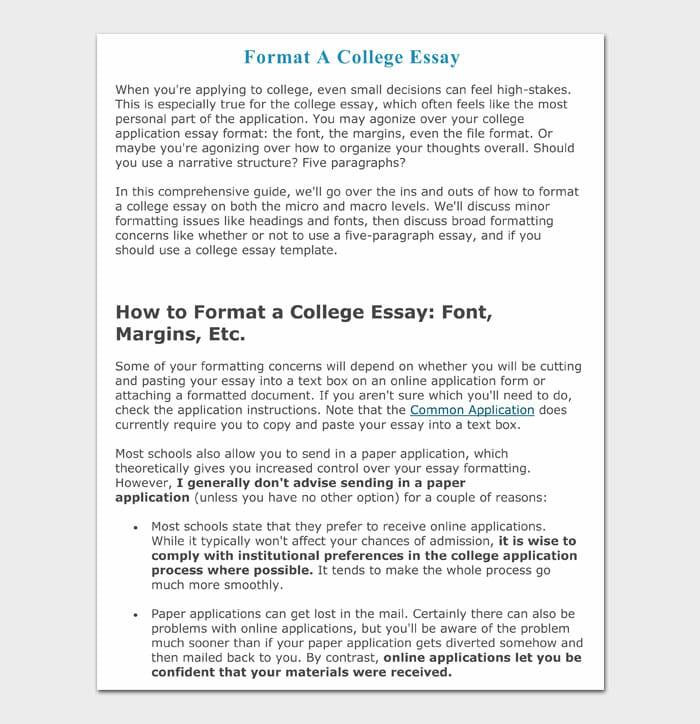 11 college essay format