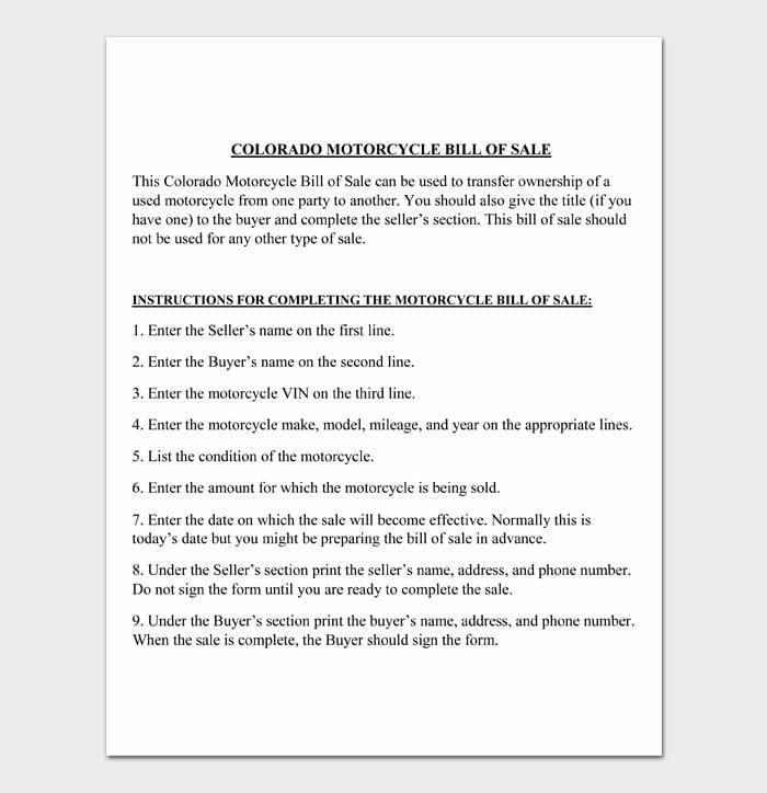 11 motorcycle bill of sale
