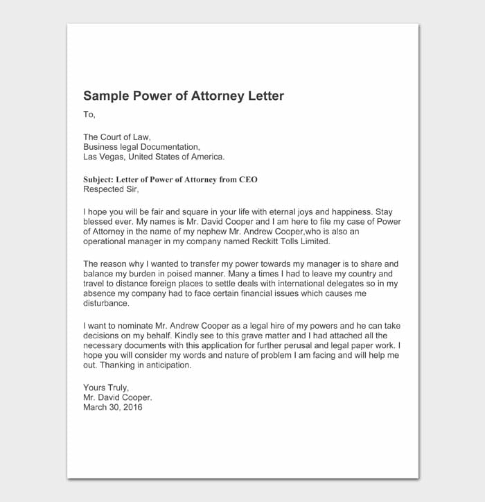 11 power of attorney letter