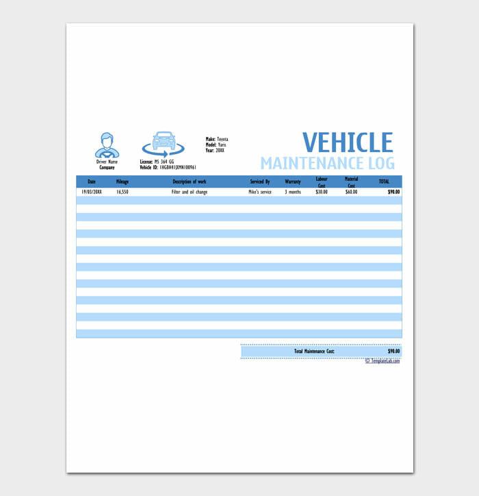 13 Vehicle Maintenance Log Service Word Sheet