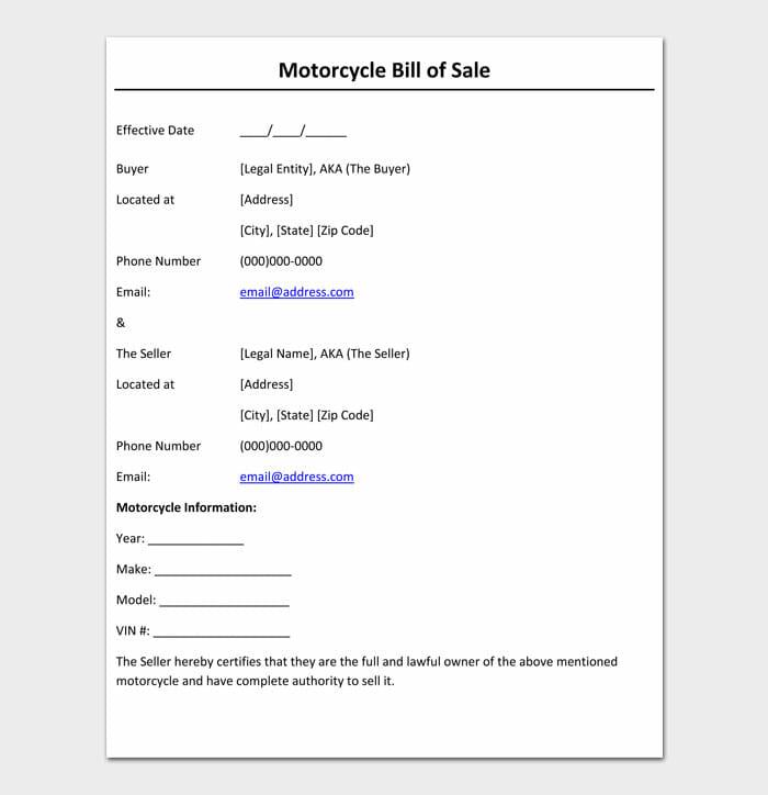 13 motorcycle bill of sale
