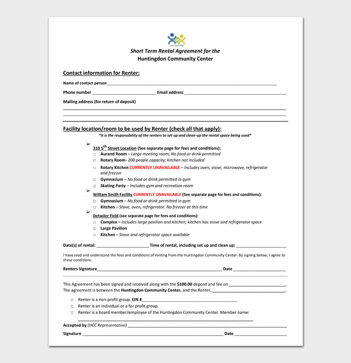 13 simple one page rental agreement