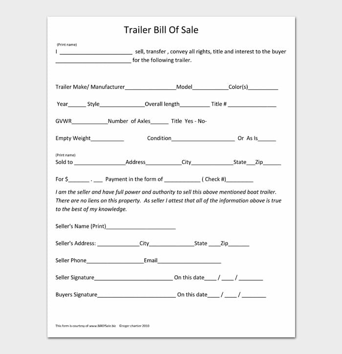 14 bill of sale for trailer