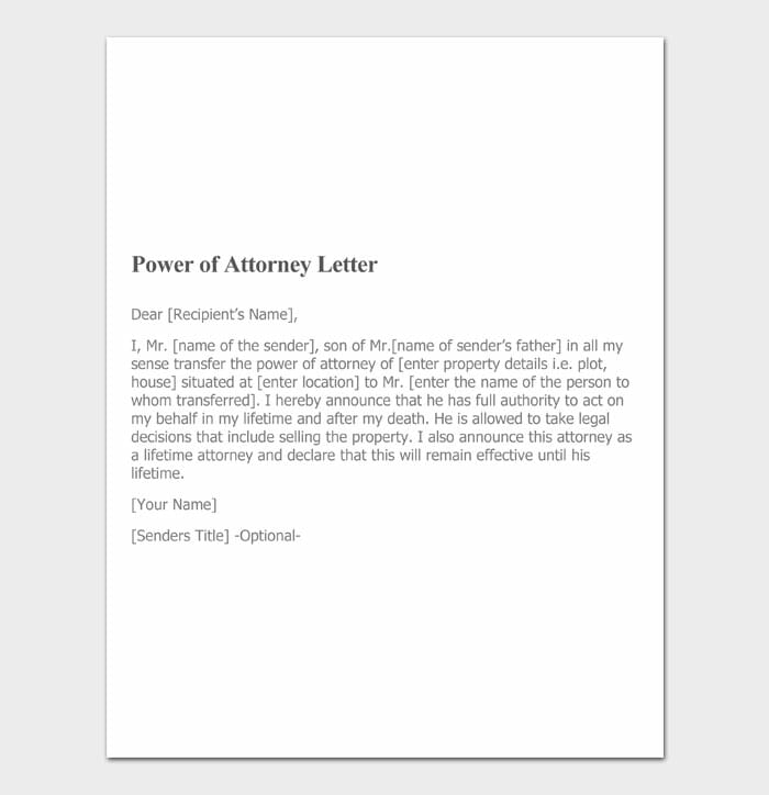 14 power of attorney letter