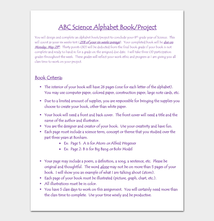 ABC Science Alphabet Book Project